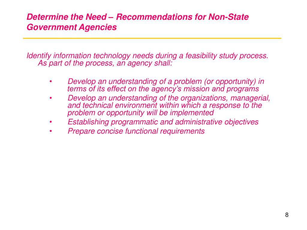 Determine the Need – Recommendations for Non-State Government Agencies