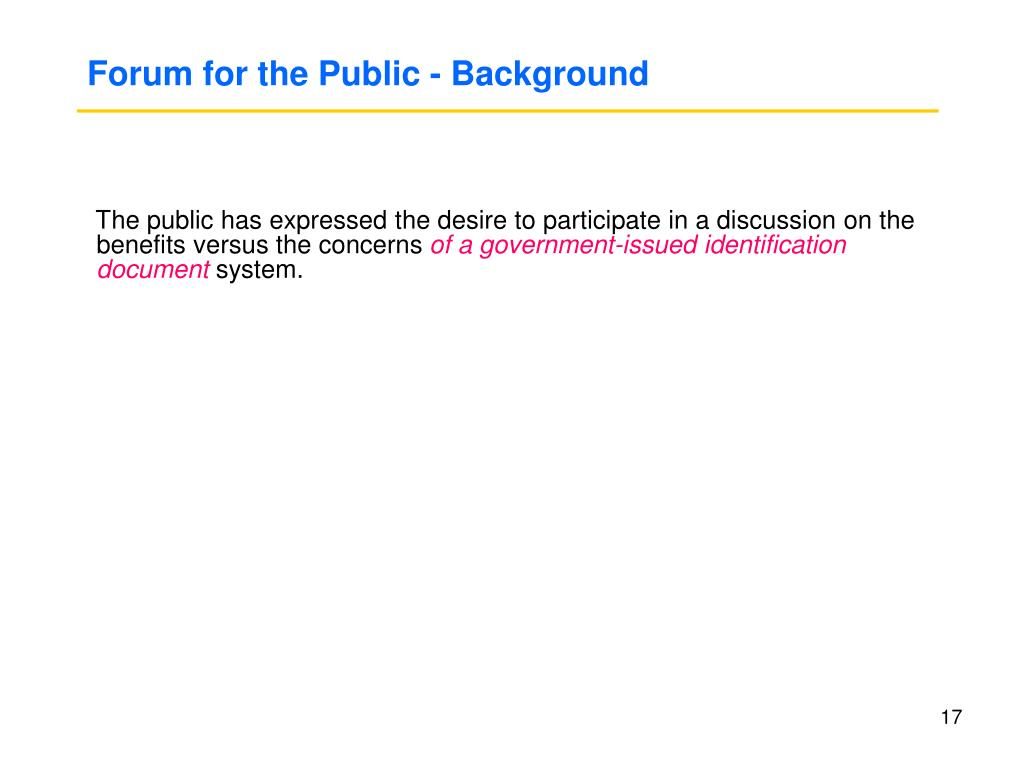 Forum for the Public - Background