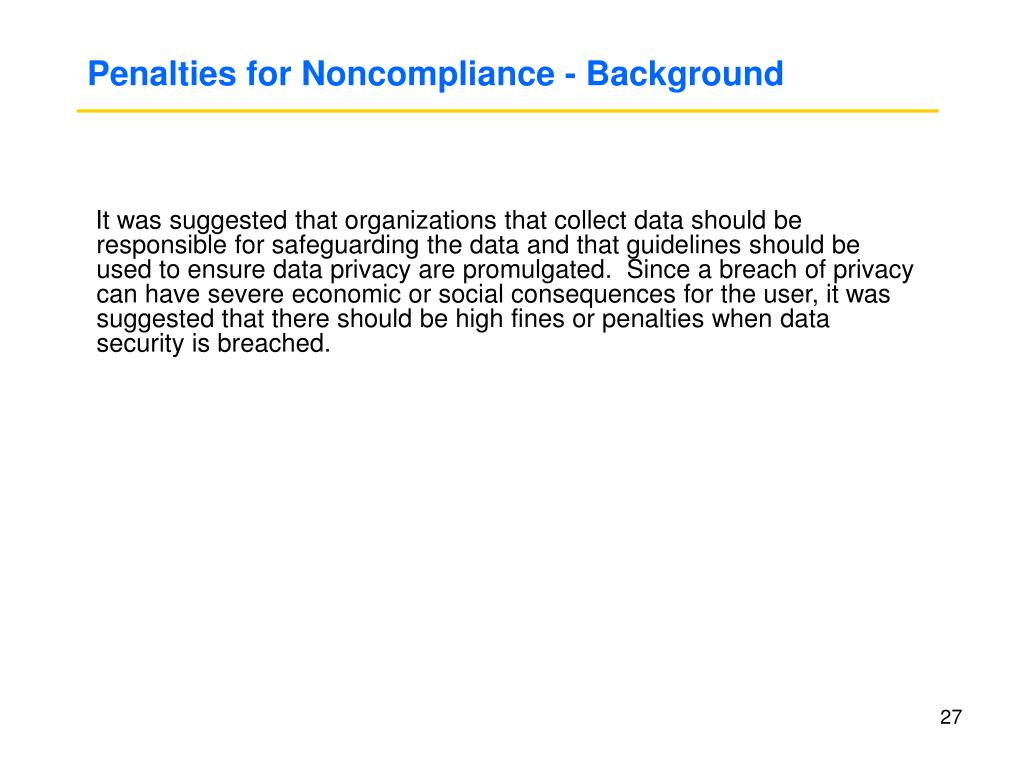 Penalties for Noncompliance - Background