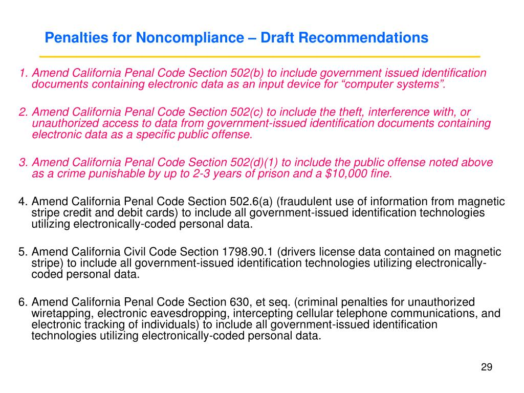 Penalties for Noncompliance – Draft Recommendations