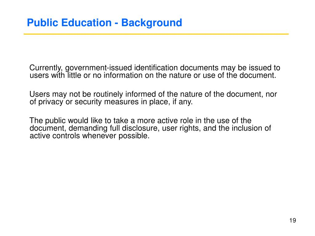 Public Education - Background