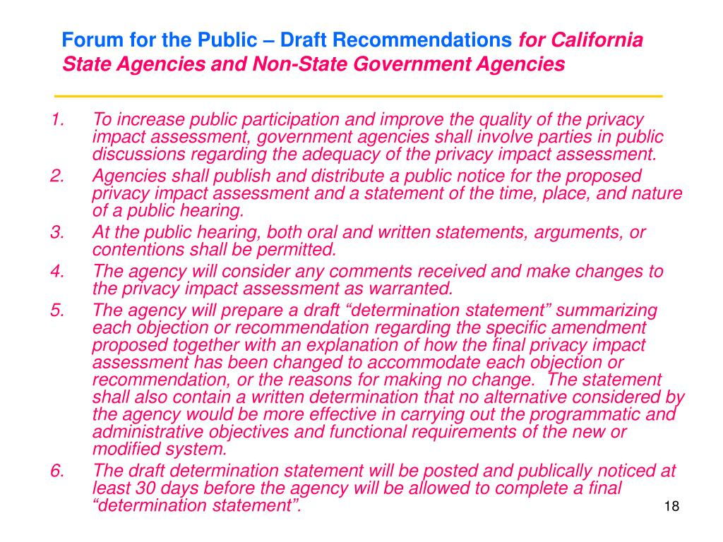 Forum for the Public – Draft Recommendations