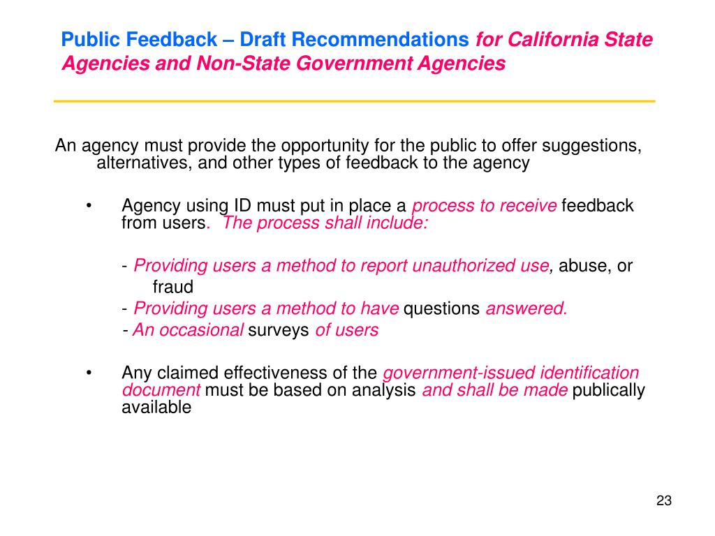 Public Feedback – Draft Recommendations