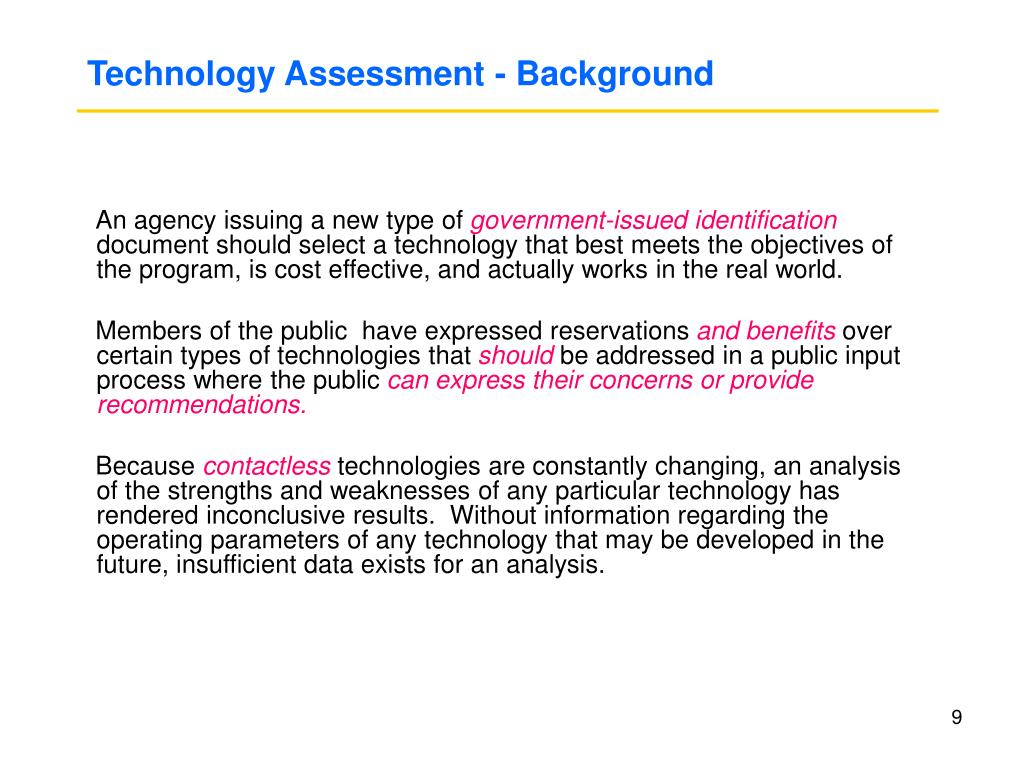 Technology Assessment - Background