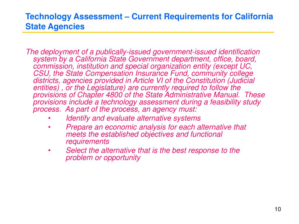 Technology Assessment – Current Requirements for California State Agencies