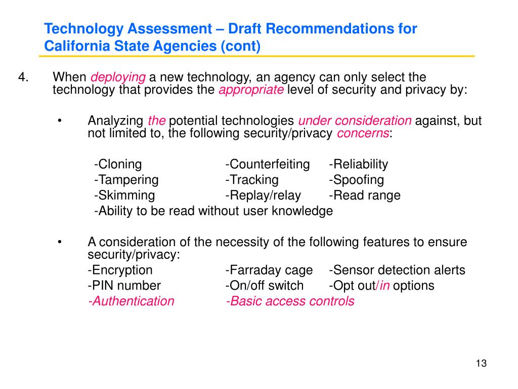 Technology Assessment – Draft Recommendations for California State Agencies (cont)