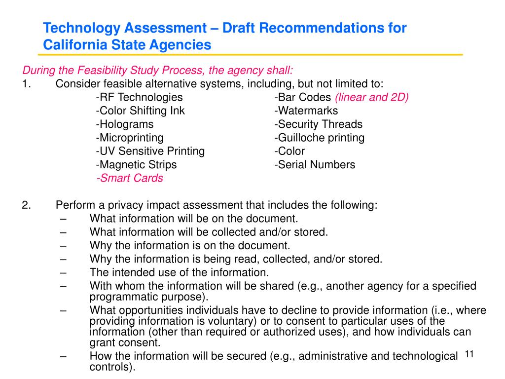 Technology Assessment – Draft Recommendations for California State Agencies