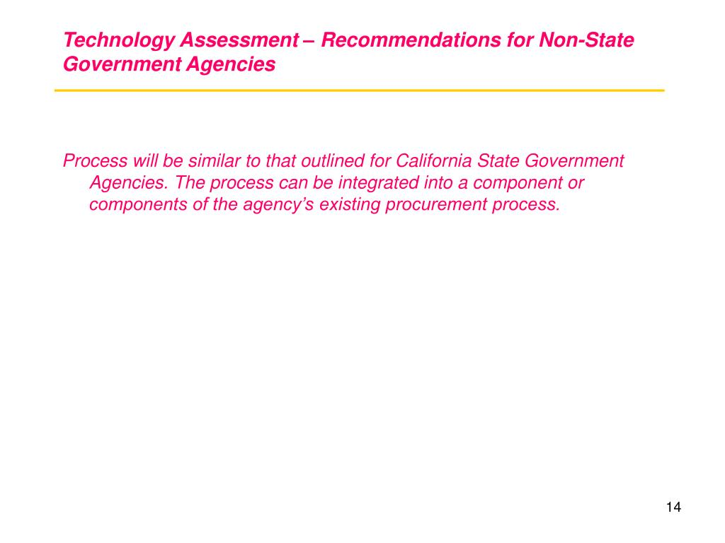 Technology Assessment – Recommendations for Non-State Government Agencies