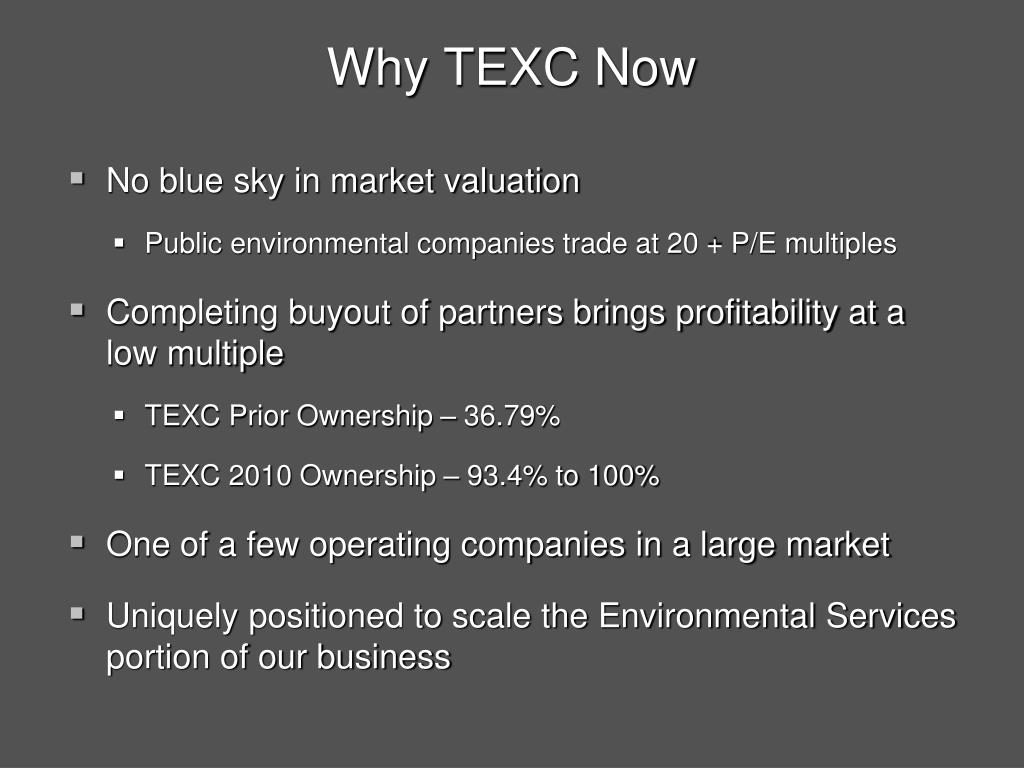 Why TEXC Now