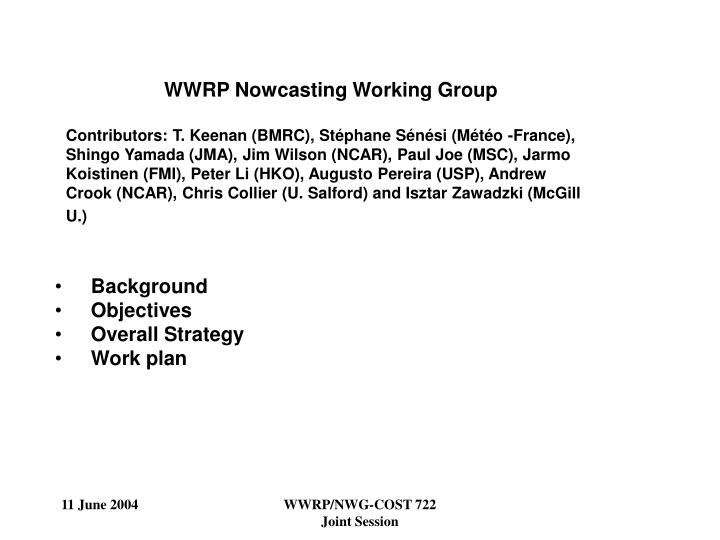WWRP Nowcasting Working Group