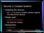 security in complex systems
