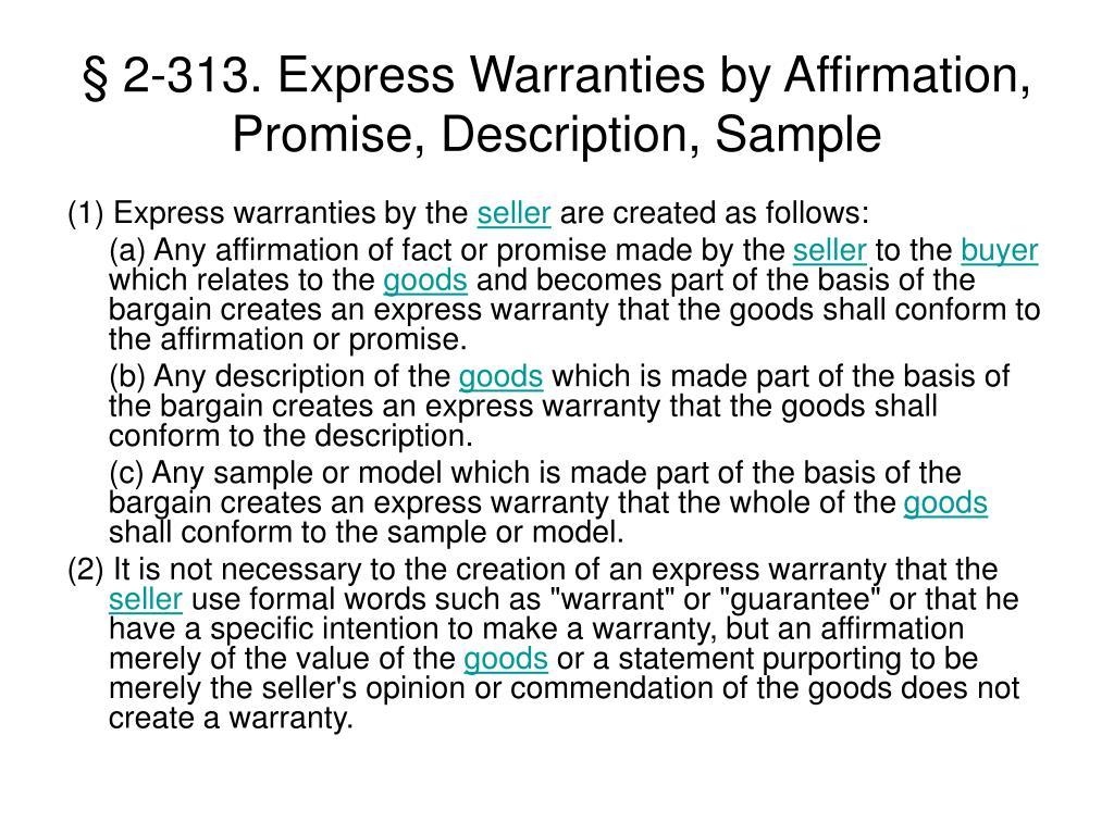 § 2-313. Express Warranties by Affirmation, Promise, Description, Sample