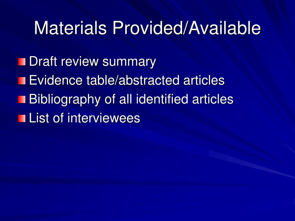 Materials Provided/Available