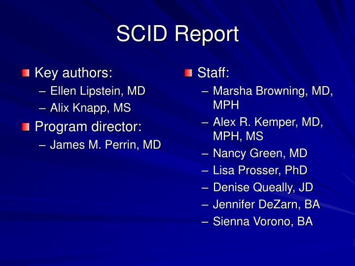 Scid report