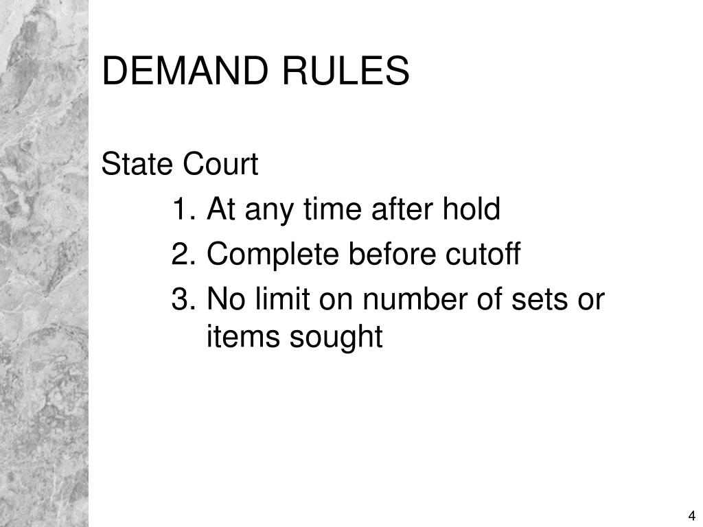 DEMAND RULES