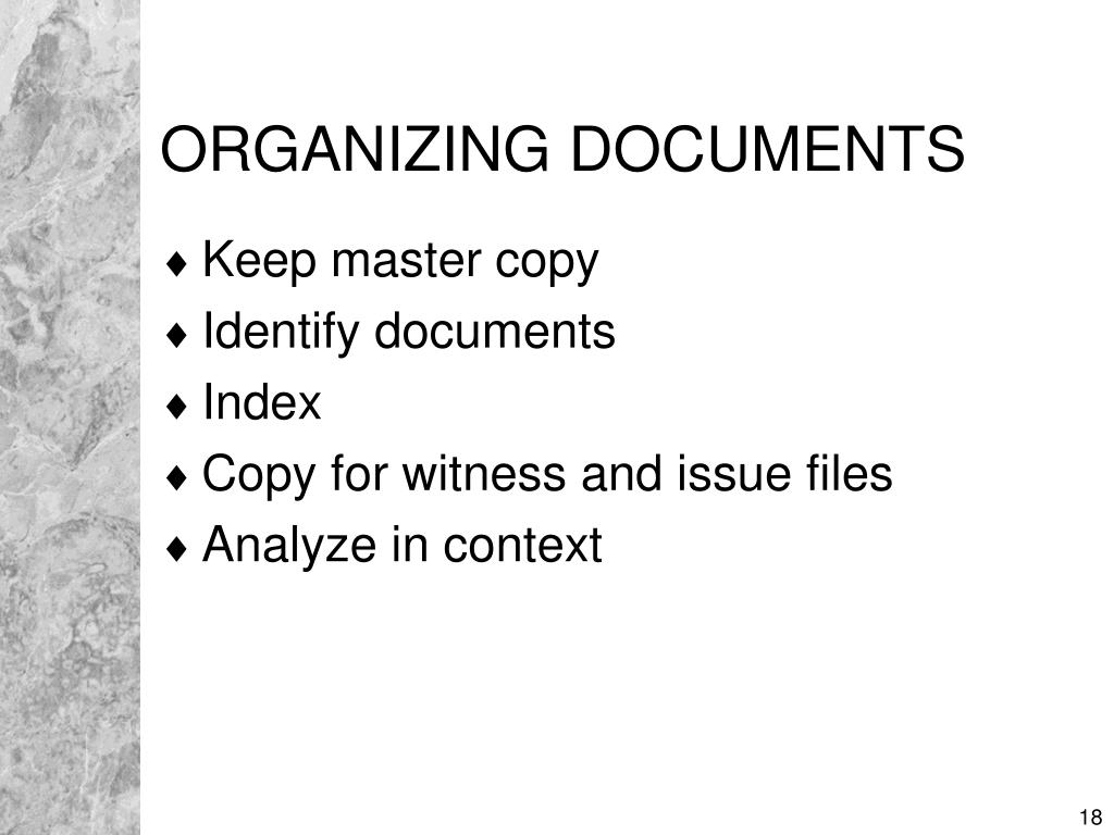 ORGANIZING DOCUMENTS