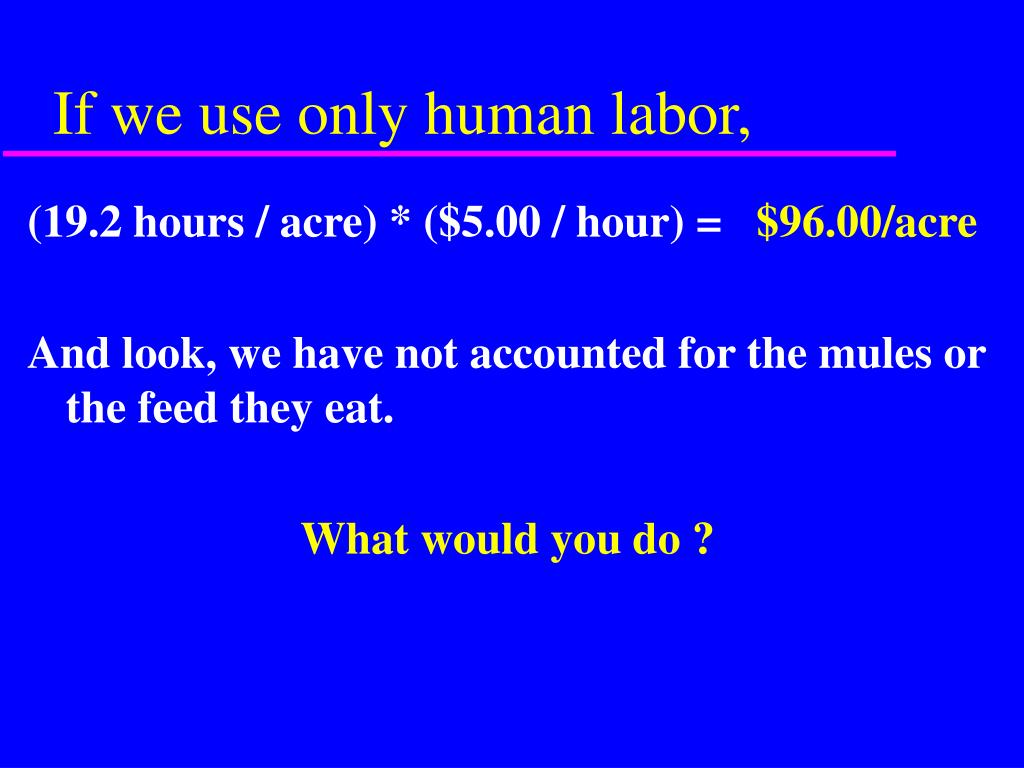 If we use only human labor,