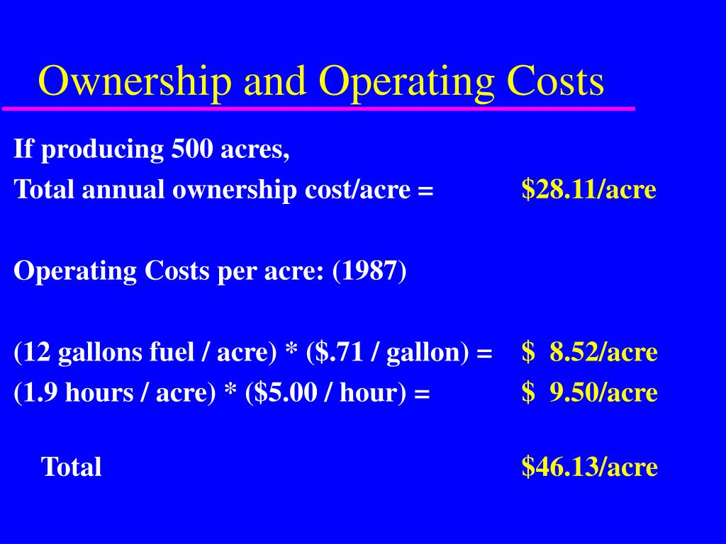 Ownership and Operating Costs