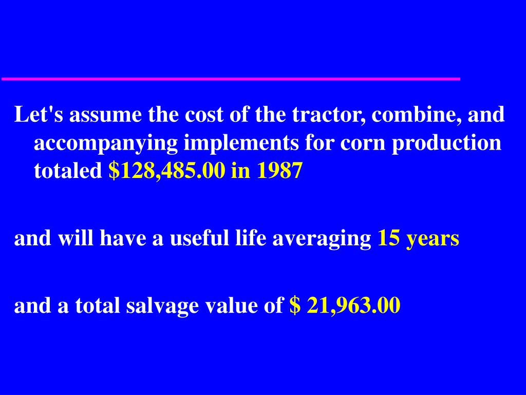 Let's assume the cost of the tractor, combine, and accompanying implements for corn production totaled