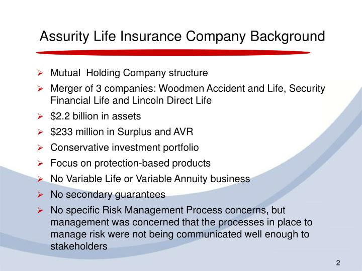 Assurity Life Insurance Company Background