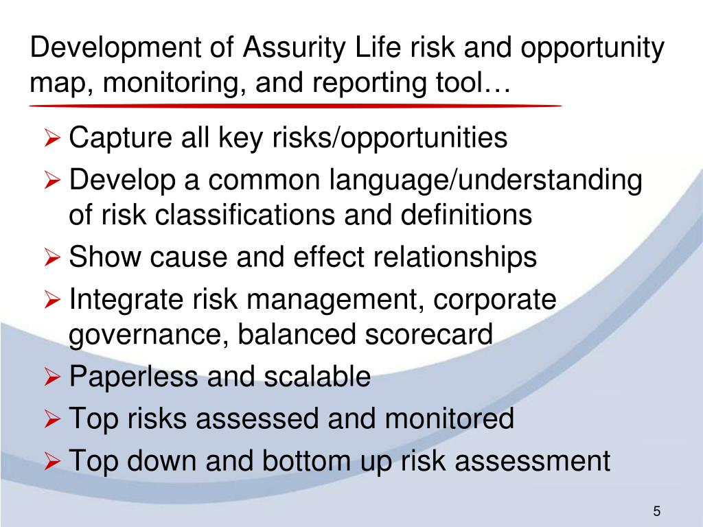 Development of Assurity Life risk and opportunity map, monitoring, and reporting tool…