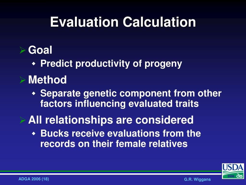 Evaluation Calculation
