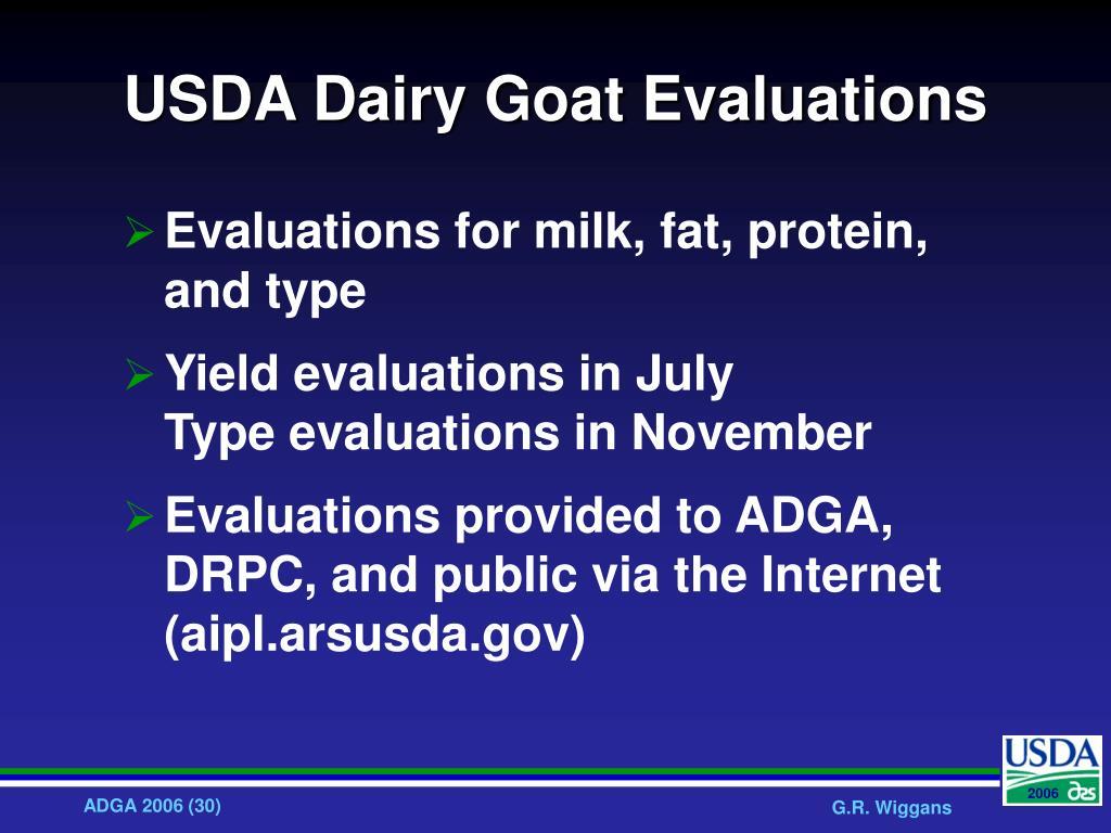USDA Dairy Goat Evaluations