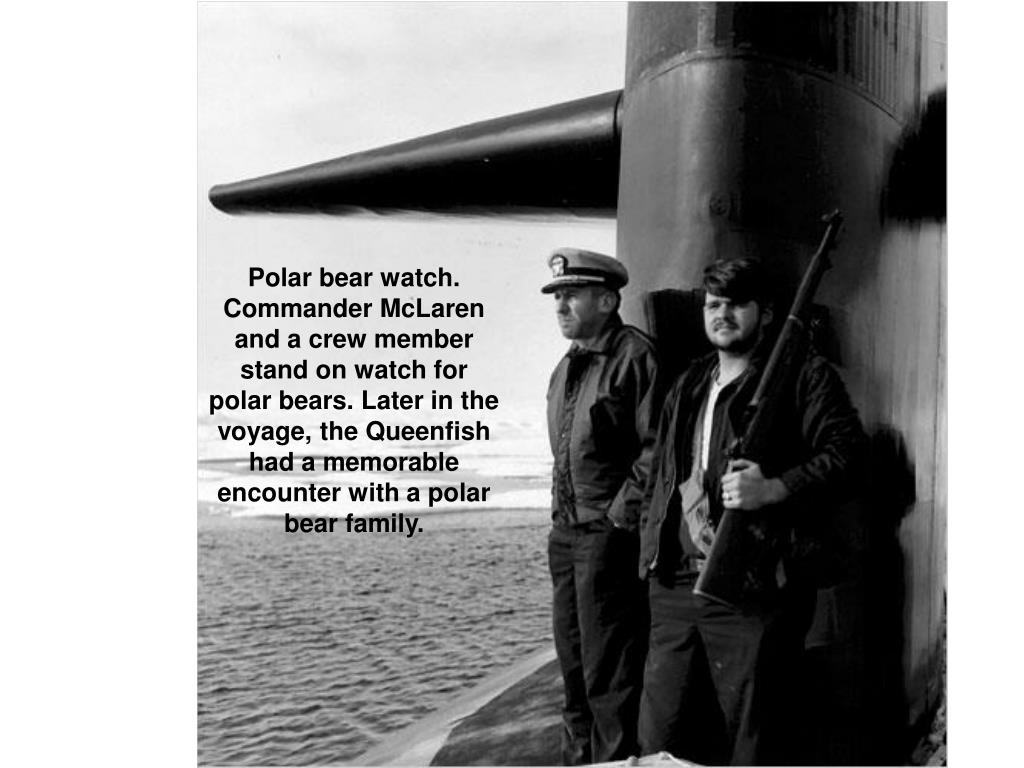 Polar bear watch. Commander McLaren and a crew member stand on watch for polar bears. Later in the voyage, the Queenfish had a memorable encounter with a polar bear family.