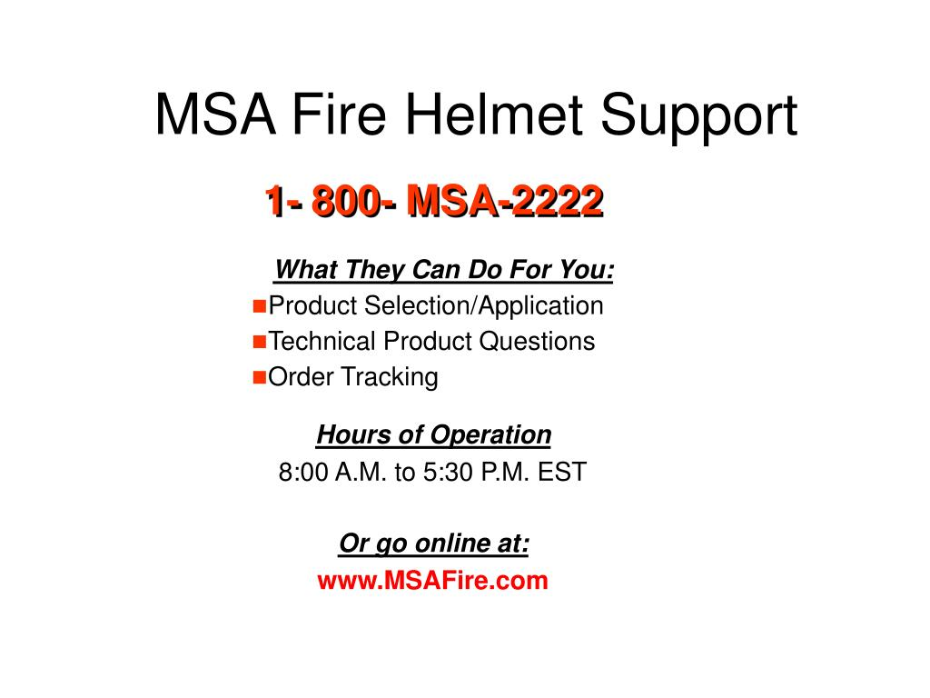 MSA Fire Helmet Support