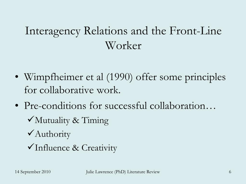 Interagency Relations and the Front-Line Worker