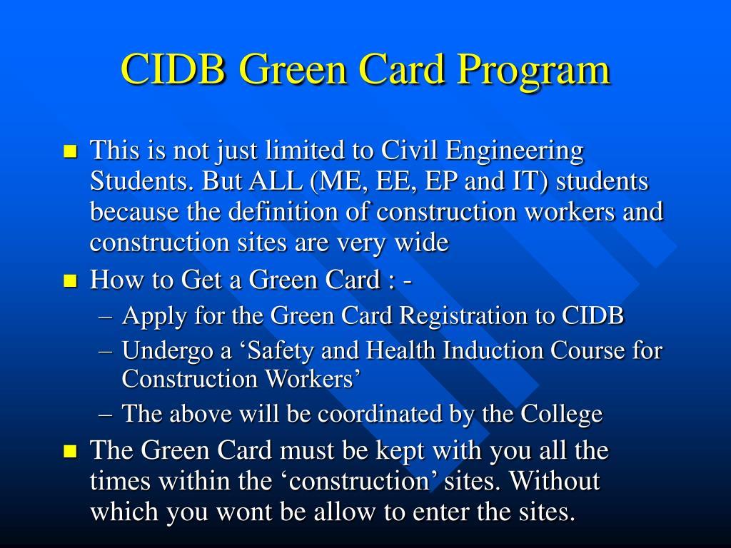 green card cidb registry form Pendaftaran kursus kad hijau cidb registration for cidb green card course saya nak tanya saya cidb card sudah ada tapi sudah mati setahun lepas dan dulu saya.