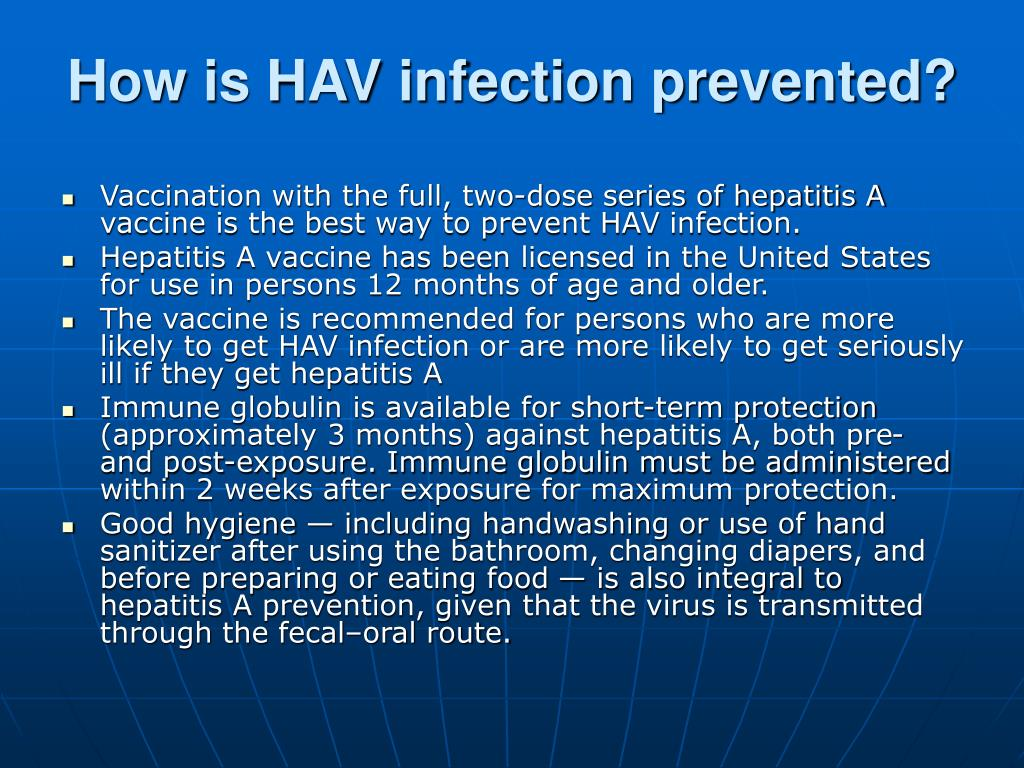 How is HAV infection prevented?
