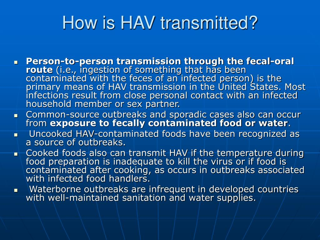 How is HAV transmitted?