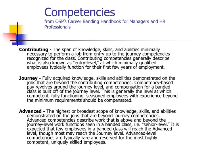 Competencies from osp s career banding handbook for managers and hr professionals