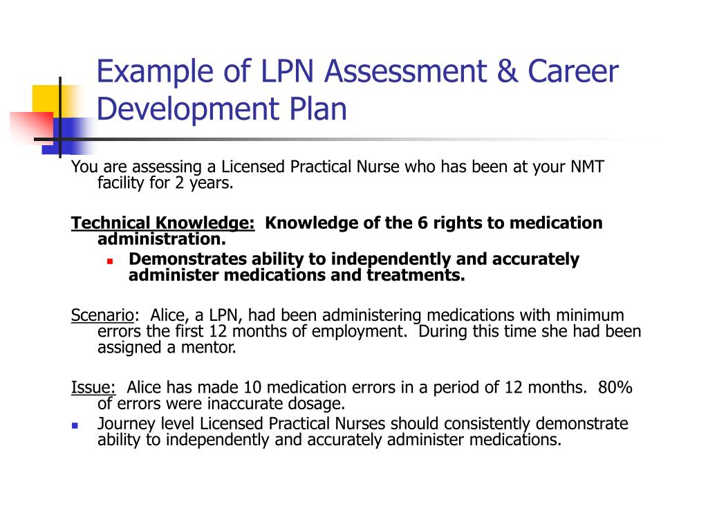 Example of LPN Assessment & Career Development Plan
