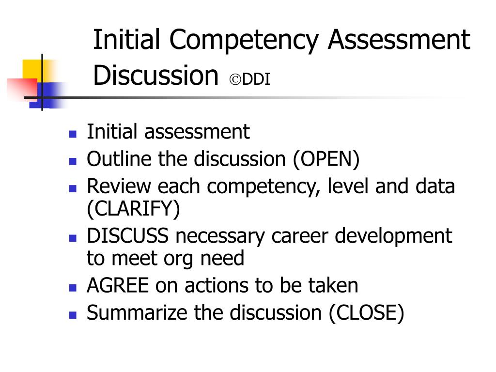 Initial Competency Assessment Discussion