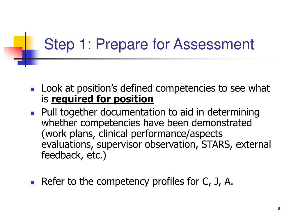 Step 1: Prepare for Assessment
