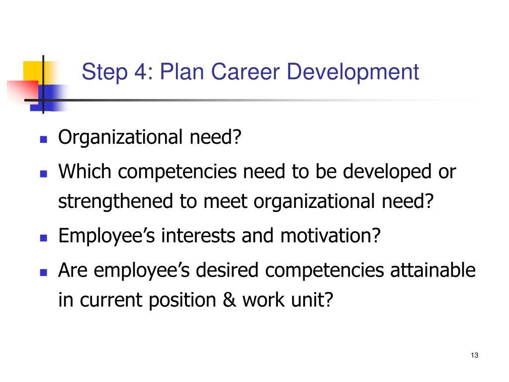 Step 4: Plan Career Development
