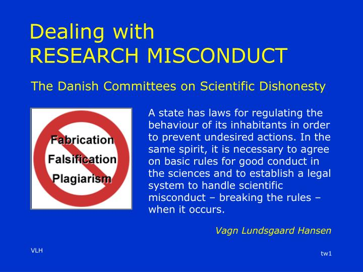 Dealing with research misconduct