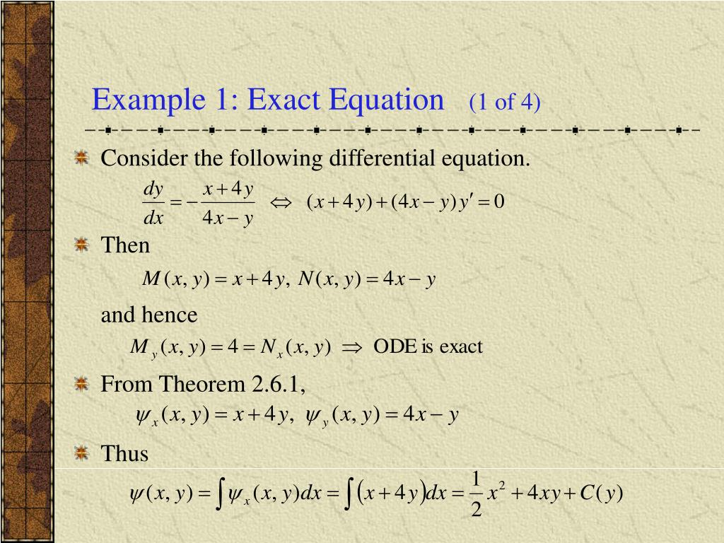 Example 1: Exact Equation