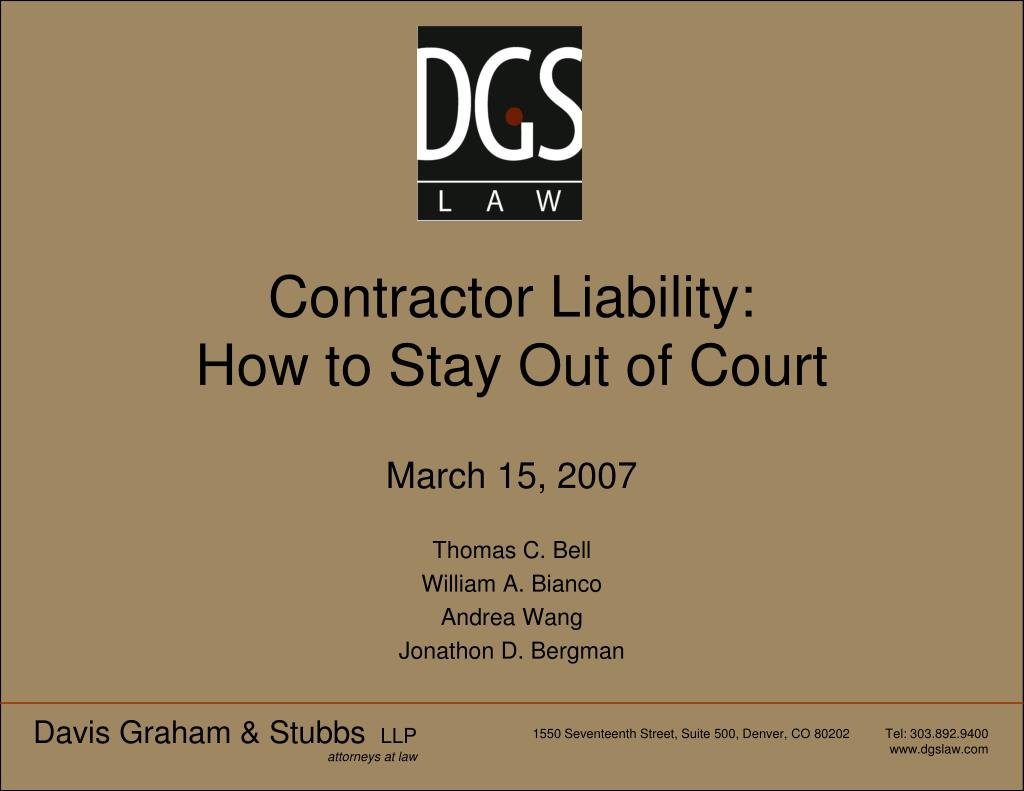 contractor liability how to stay out of court l.