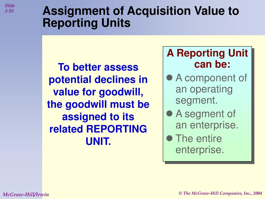 Assignment of Acquisition Value to Reporting Units
