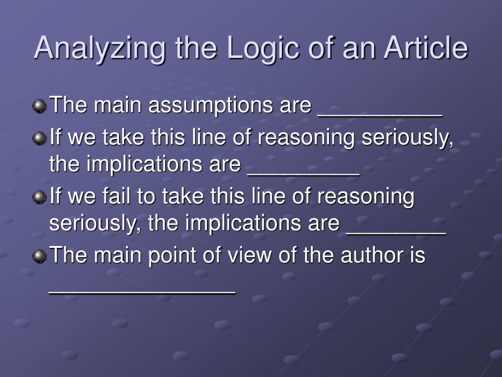 Analyzing the Logic of an Article