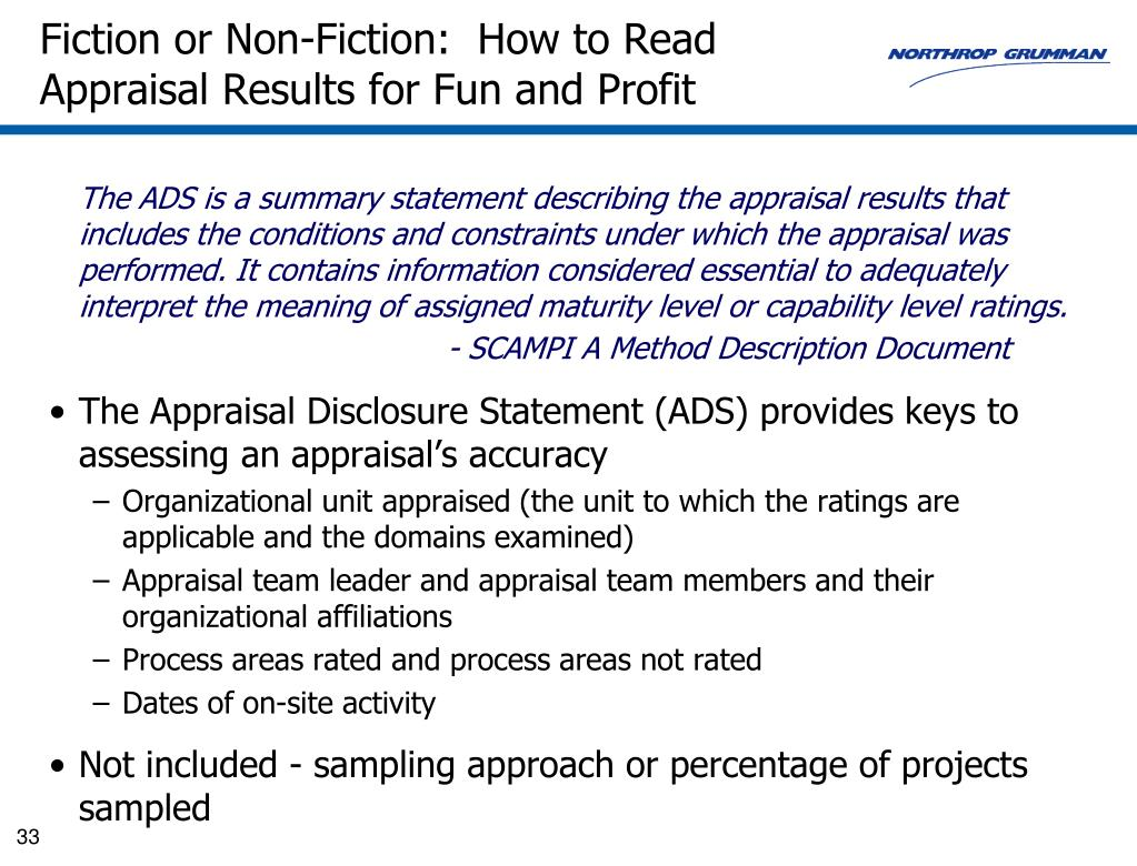Fiction or Non-Fiction:  How to Read Appraisal Results for Fun and Profit