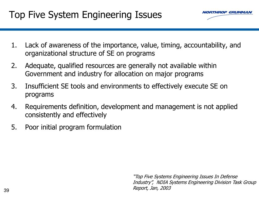 Top Five System Engineering Issues