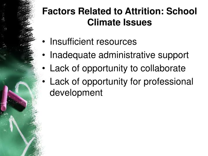 Factors Related to Attrition: School Climate Issues