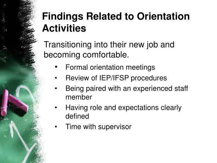 Findings Related to Orientation Activities