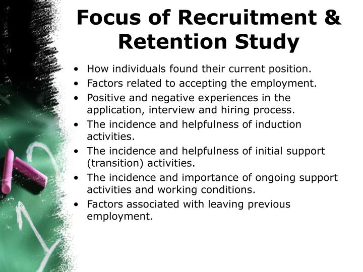 Focus of recruitment retention study