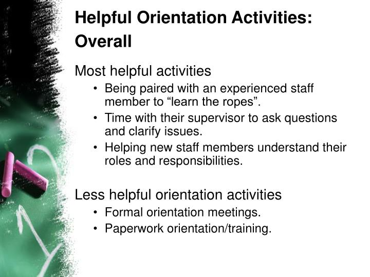 Helpful Orientation Activities: Overall