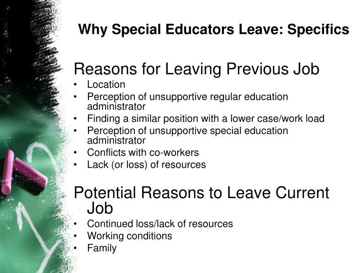 Why Special Educators Leave: Specifics